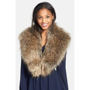 BP Oversized Faux Fur Collar in Natural NWT